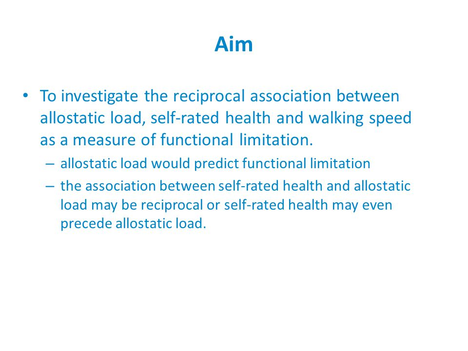 Cross-lagged model http://pathways.lshtm.ac.uk Self-rated health Functional limitation Self-rated health Functional limitation Time 1 Time 2 Allostatic load