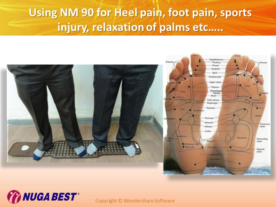 Copyright © Wondershare Software Using NM 90 for Heel pain, foot pain, sports injury, relaxation of palms etc…..