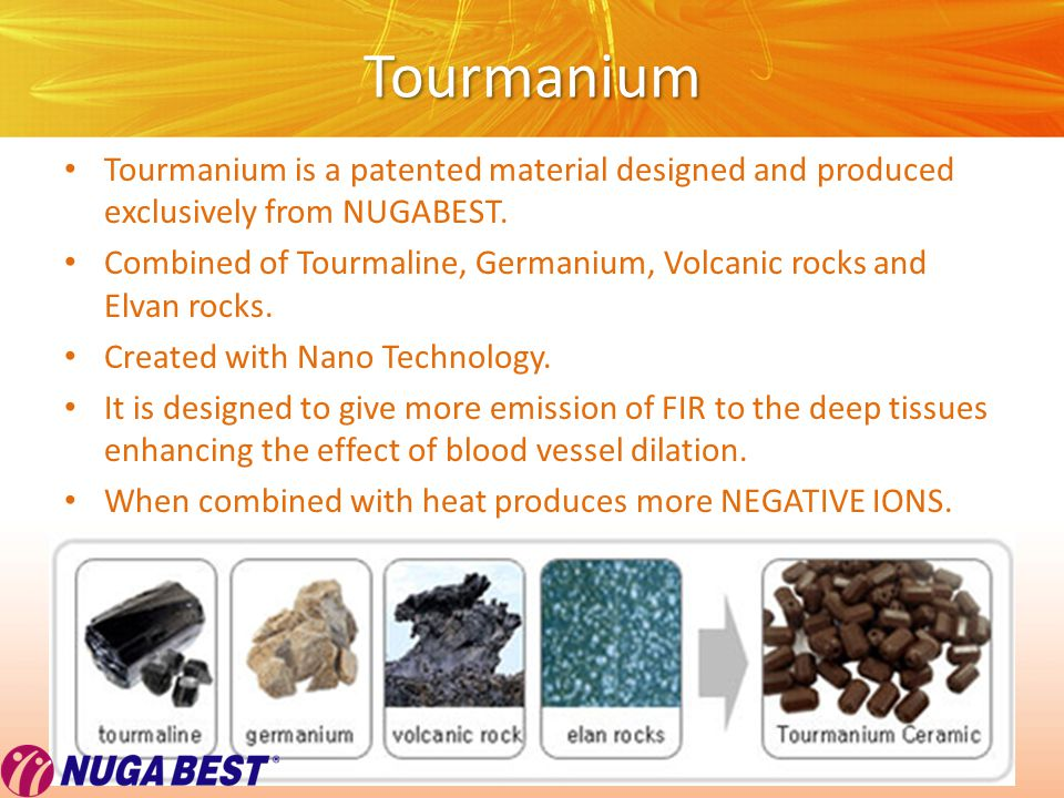 Copyright © Wondershare Software Tourmanium Tourmanium is a patented material designed and produced exclusively from NUGABEST.