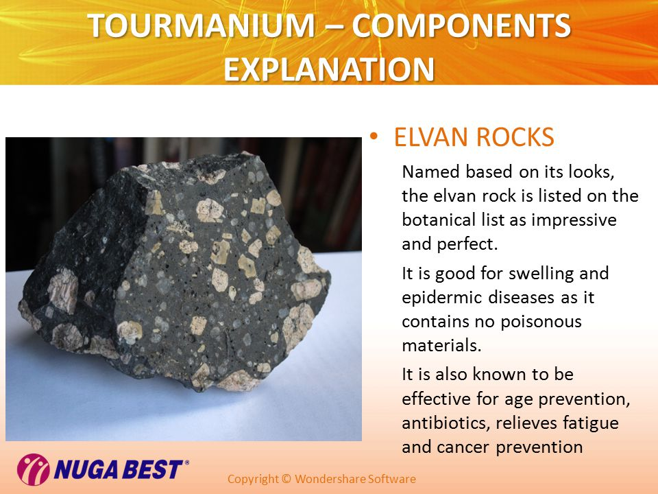 Copyright © Wondershare Software TOURMANIUM – COMPONENTS EXPLANATION ELVAN ROCKS Named based on its looks, the elvan rock is listed on the botanical list as impressive and perfect.