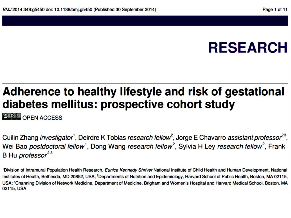 Objective To quantify the association between a combination of healthy lifestyle factors before pregnancy (healthy body weight, healthy diet, regular exercise, and not smoking) and the risk of gestational diabetes.