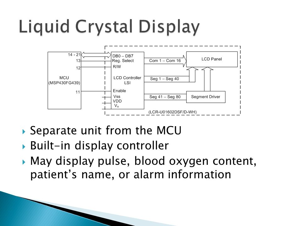  Separate unit from the MCU  Built-in display controller  May display pulse, blood oxygen content, patient's name, or alarm information