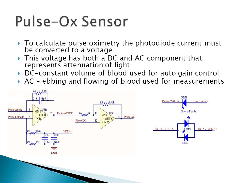  To calculate pulse oximetry the photodiode current must be converted to a voltage  This voltage has both a DC and AC component that represents attenuation of light  DC-constant volume of blood used for auto gain control  AC – ebbing and flowing of blood used for measurements