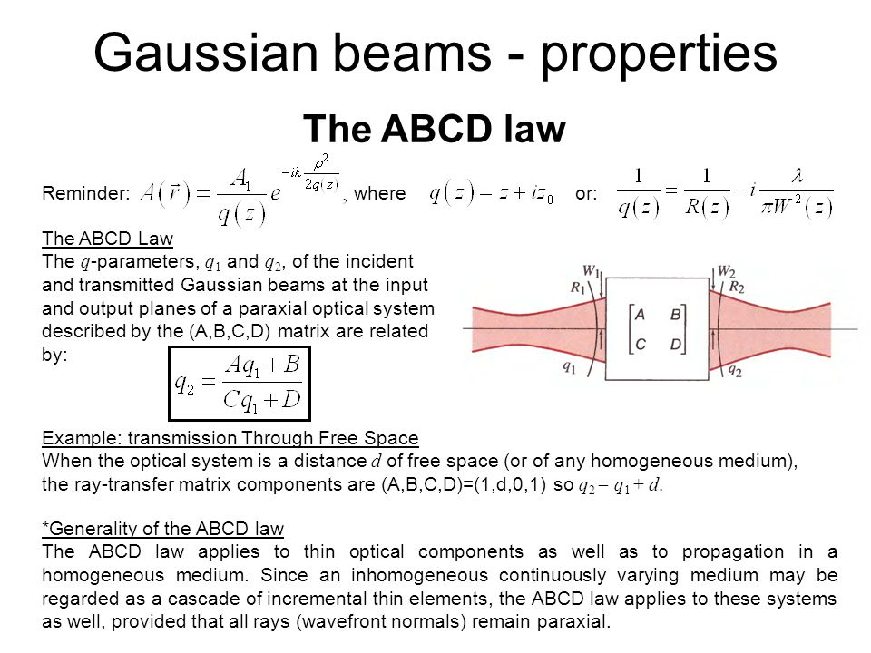 The ABCD law Reminder: where or: The ABCD Law The q -parameters, q 1 and q 2, of the incident and transmitted Gaussian beams at the input and output p