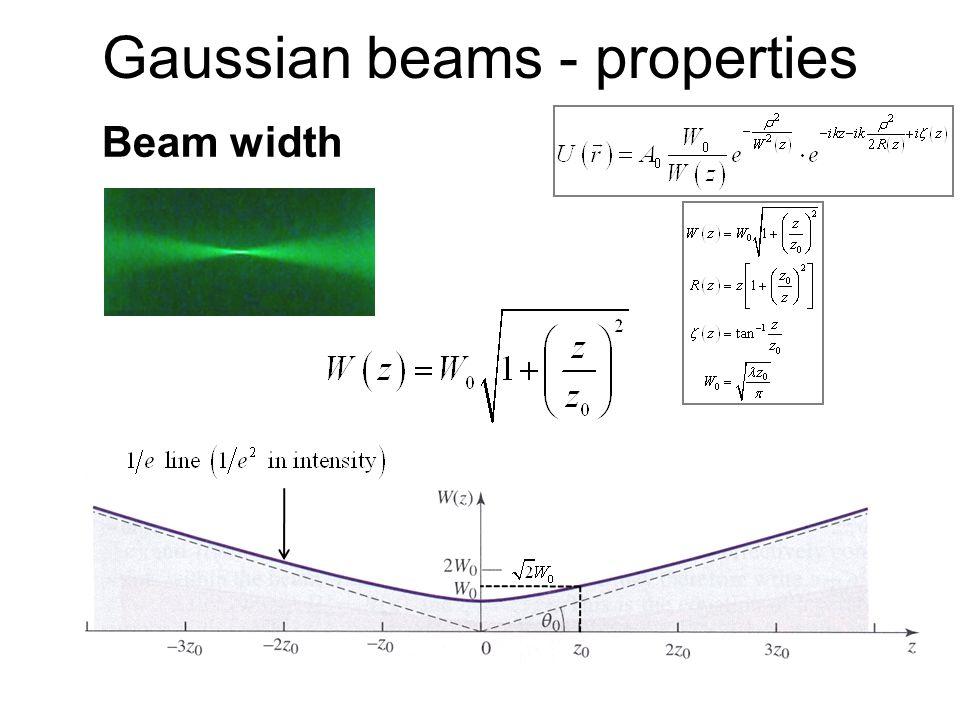 Gaussian beams - properties Beam width