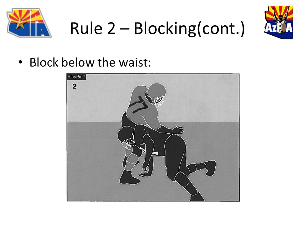 Rule 2 – Blocking(cont.) Block below the waist: