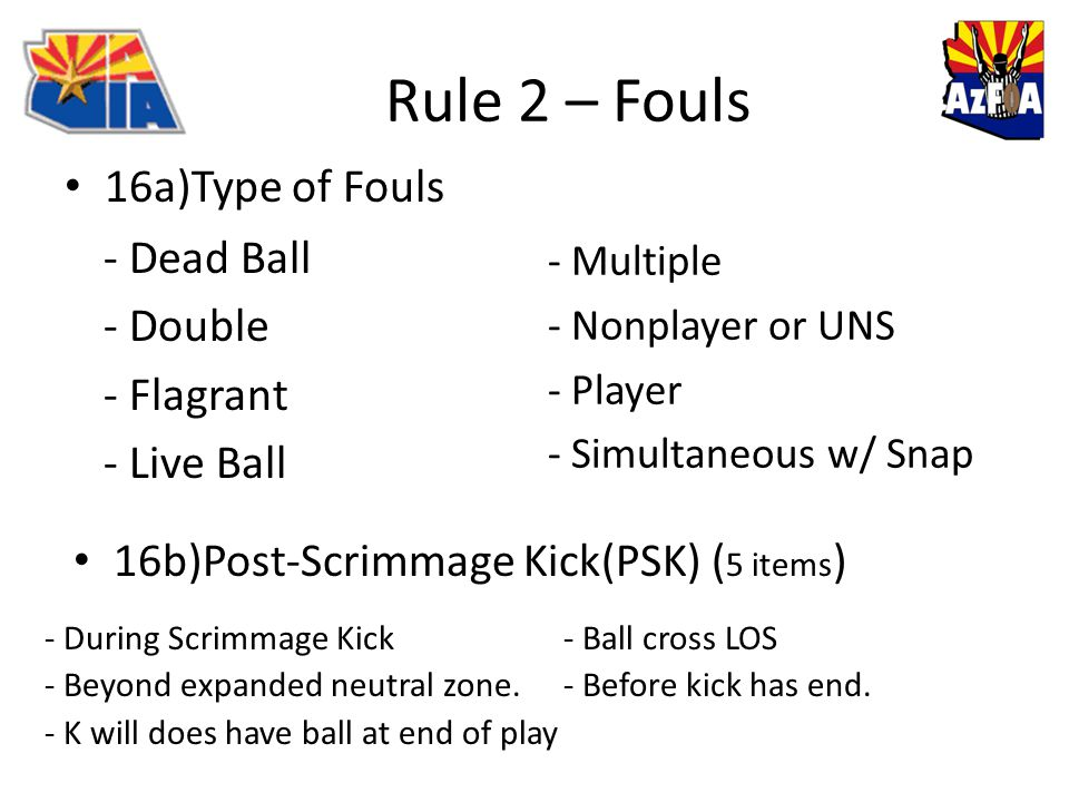 Rule 2 – Fouls 16a)Type of Fouls - Dead Ball - Double - Flagrant - Live Ball - Multiple - Nonplayer or UNS - Player - Simultaneous w/ Snap 16b)Post-Scrimmage Kick(PSK) ( 5 items ) - During Scrimmage Kick - Ball cross LOS - Beyond expanded neutral zone.