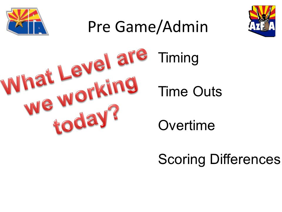 Pre Game/Admin Timing Time Outs Overtime Scoring Differences
