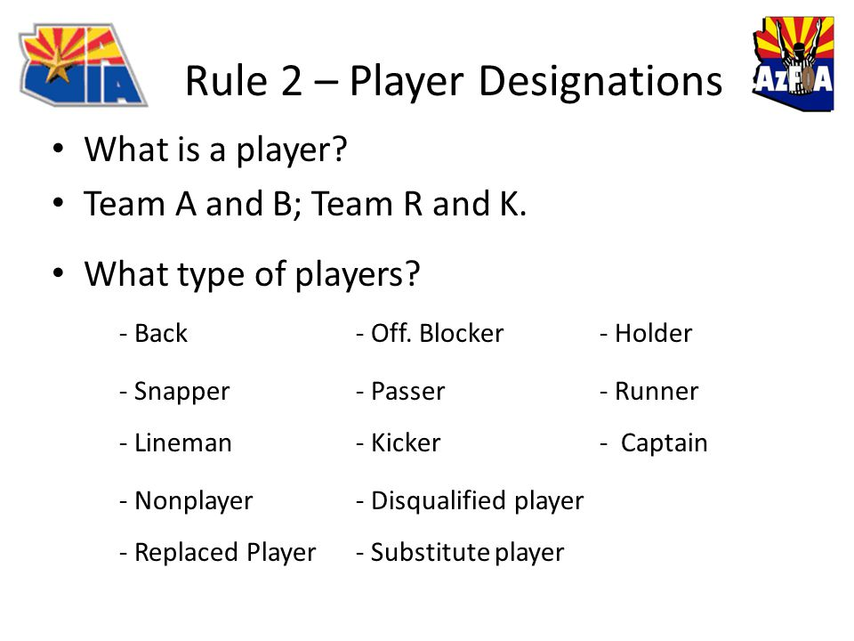 Rule 2 – Player Designations What is a player. Team A and B; Team R and K.