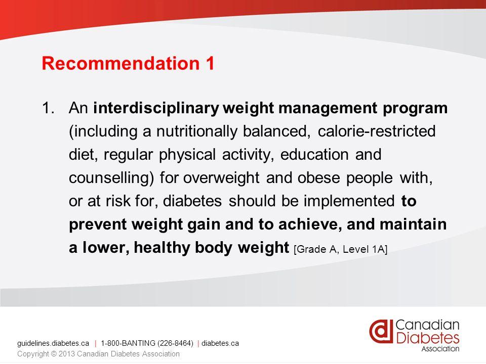 guidelines.diabetes.ca | 1-800-BANTING (226-8464) | diabetes.ca Copyright © 2013 Canadian Diabetes Association 1.An interdisciplinary weight managemen