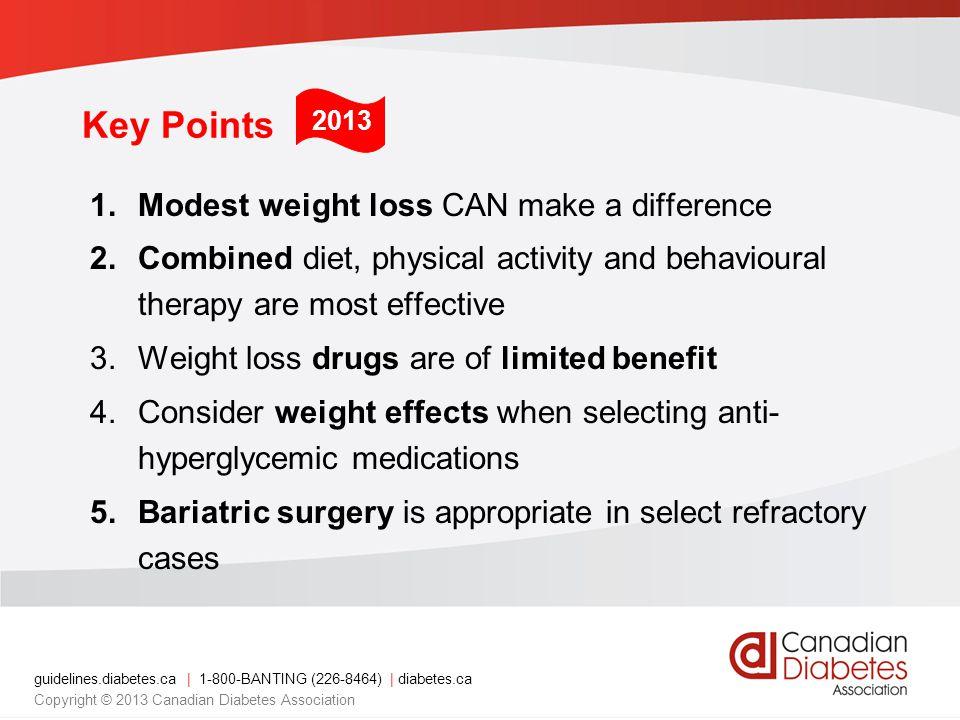 guidelines.diabetes.ca | 1-800-BANTING (226-8464) | diabetes.ca Copyright © 2013 Canadian Diabetes Association Key Points 1.Modest weight loss CAN mak