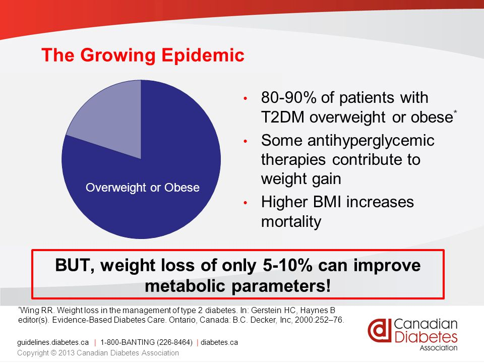 guidelines.diabetes.ca | 1-800-BANTING (226-8464) | diabetes.ca Copyright © 2013 Canadian Diabetes Association Recommendation 3 3.Adults with type 2 diabetes and class II or III obesity (BMI ≥35.0 kg/m2) may be considered for bariatric surgery when other lifestyle interventions are inadequate in achieving healthy weight goals [Grade B, Level 2]