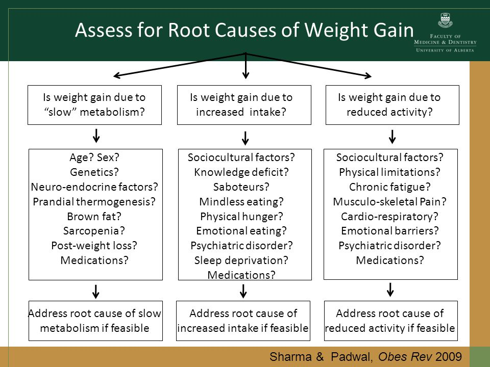 Assess for Root Causes of Weight Gain Sharma & Padwal, Obes Rev 2009 Is weight gain due to slow metabolism.