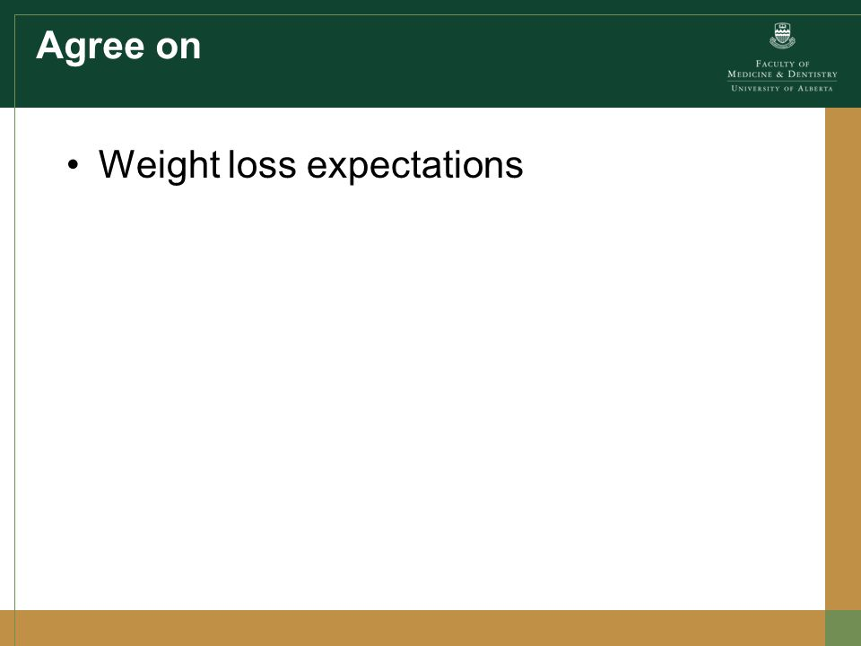 Agree on Weight loss expectations