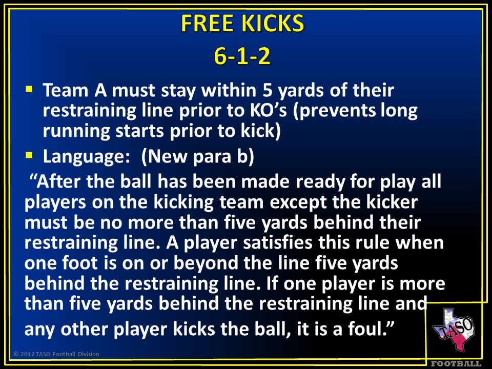 FOOTBALL  Team A must stay within 5 yards of their restraining line prior to KO's (prevents long running starts prior to kick)  Language: (New para b) After the ball has been made ready for play all players on the kicking team except the kicker must be no more than five yards behind their restraining line.