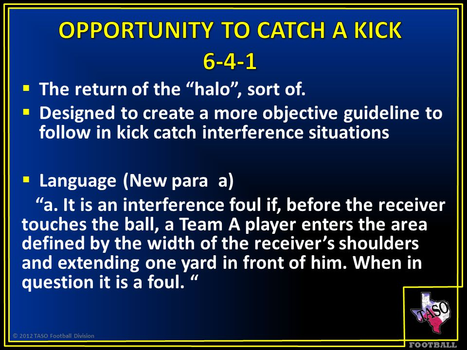 """FOOTBALL  The return of the """"halo"""", sort of.  Designed to create a more objective guideline to follow in kick catch interference situations  Langua"""