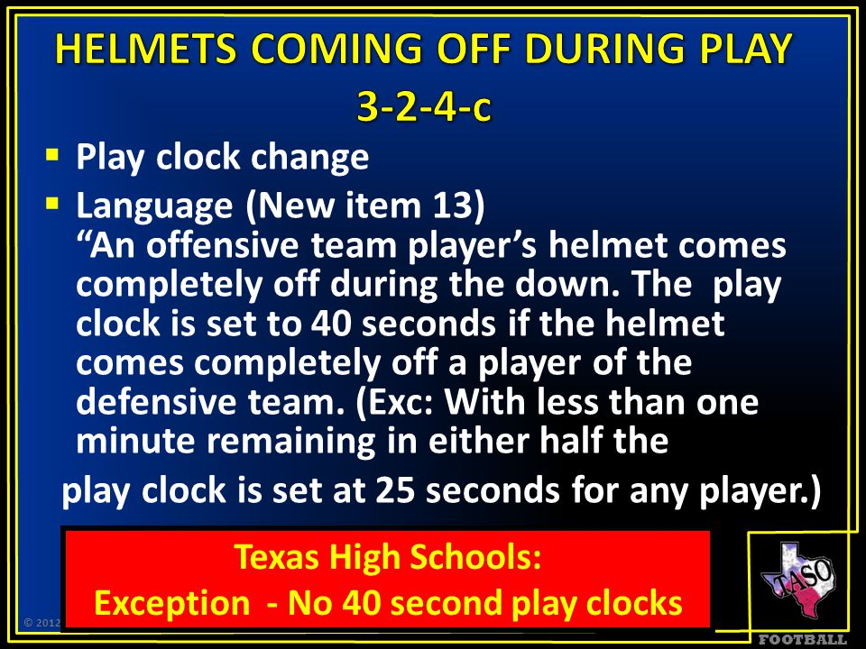 """FOOTBALL  Play clock change  Language (New item 13) """"An offensive team player's helmet comes completely off during the down. The play clock is set t"""