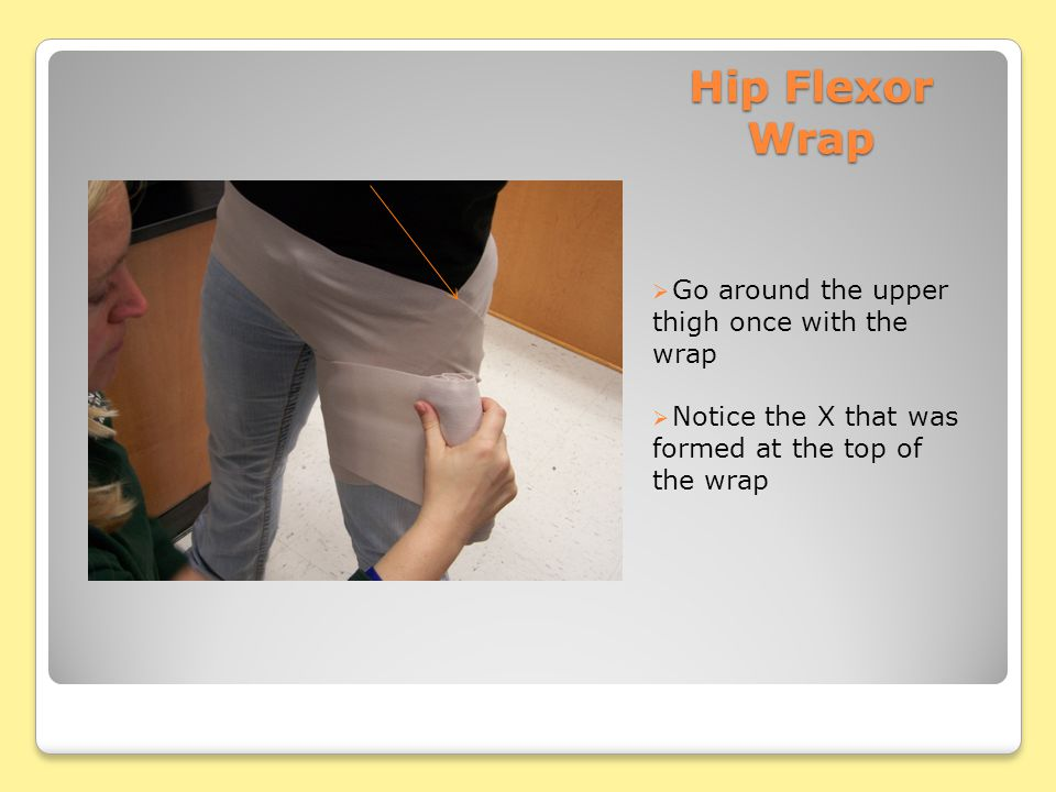 Hip Flexor Wrap  Go around the upper thigh once with the wrap  Notice the X that was formed at the top of the wrap