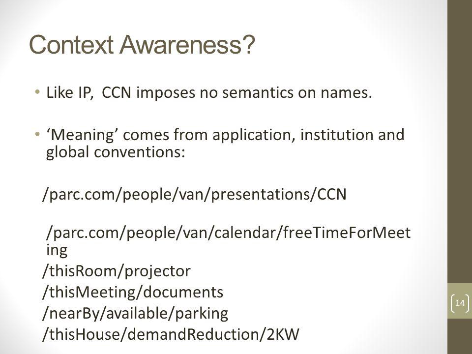 Context Awareness. Like IP, CCN imposes no semantics on names.