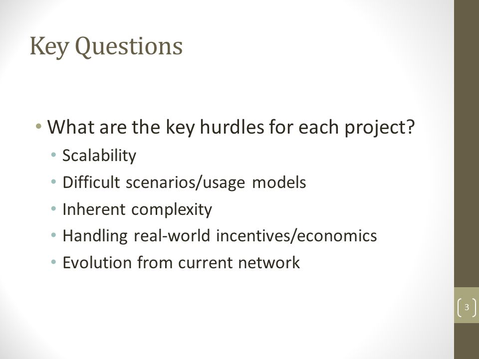 Key Questions Do you believe in basic motivations of each project.