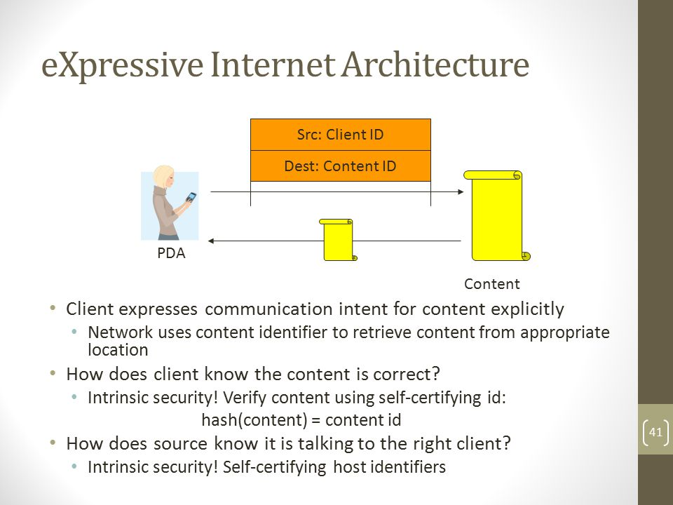 eXpressive Internet Architecture Client expresses communication intent for content explicitly Network uses content identifier to retrieve content from appropriate location How does client know the content is correct.