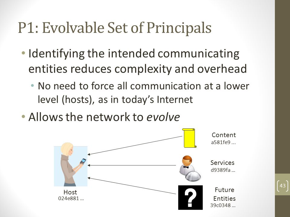 P1: Evolvable Set of Principals Identifying the intended communicating entities reduces complexity and overhead No need to force all communication at a lower level (hosts), as in today's Internet Allows the network to evolve 43 Host Content Services Future Entities a581fe9...