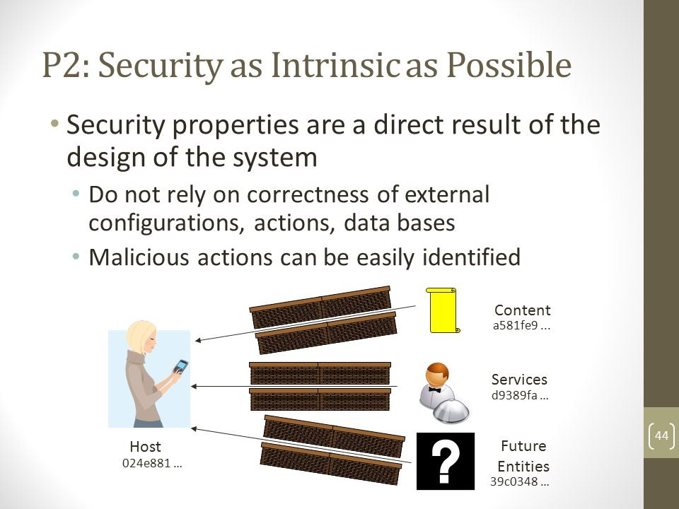 P2: Security as Intrinsic as Possible Security properties are a direct result of the design of the system Do not rely on correctness of external configurations, actions, data bases Malicious actions can be easily identified 44 Host Content Services Future Entities a581fe9...