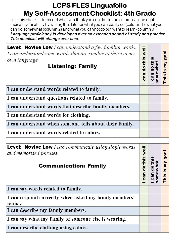 Level: Novice Low I can understand a few familiar words. I can understand some words that are similar to those in my own language. Listening: Family I