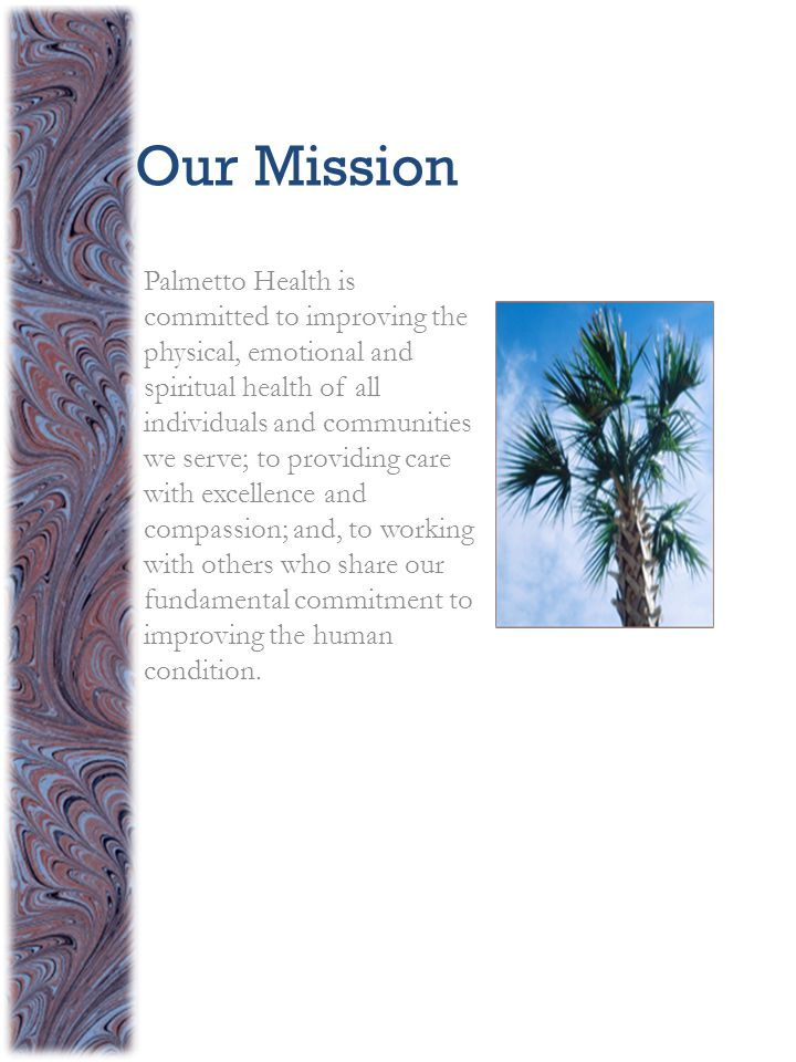 Our Mission Palmetto Health is committed to improving the physical, emotional and spiritual health of all individuals and communities we serve; to providing care with excellence and compassion; and, to working with others who share our fundamental commitment to improving the human condition.