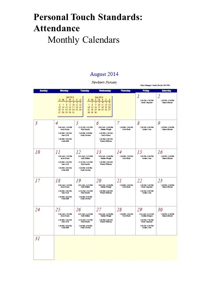 Personal Touch Standards: Attendance Monthly Calendars