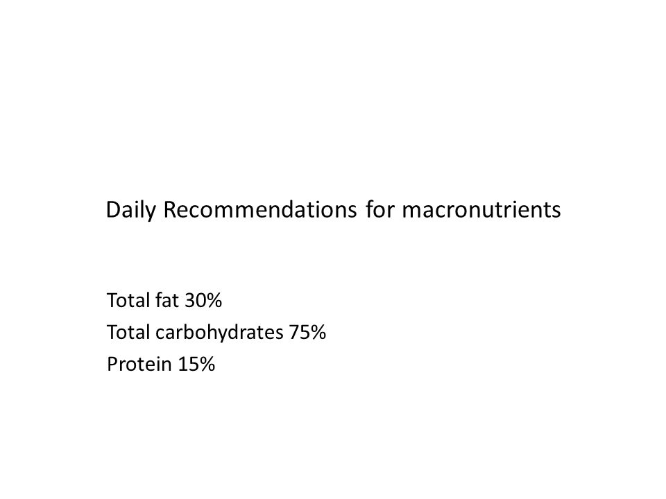 Daily Recommendations for macronutrients Total fat 30% Total carbohydrates 75% Protein 15%