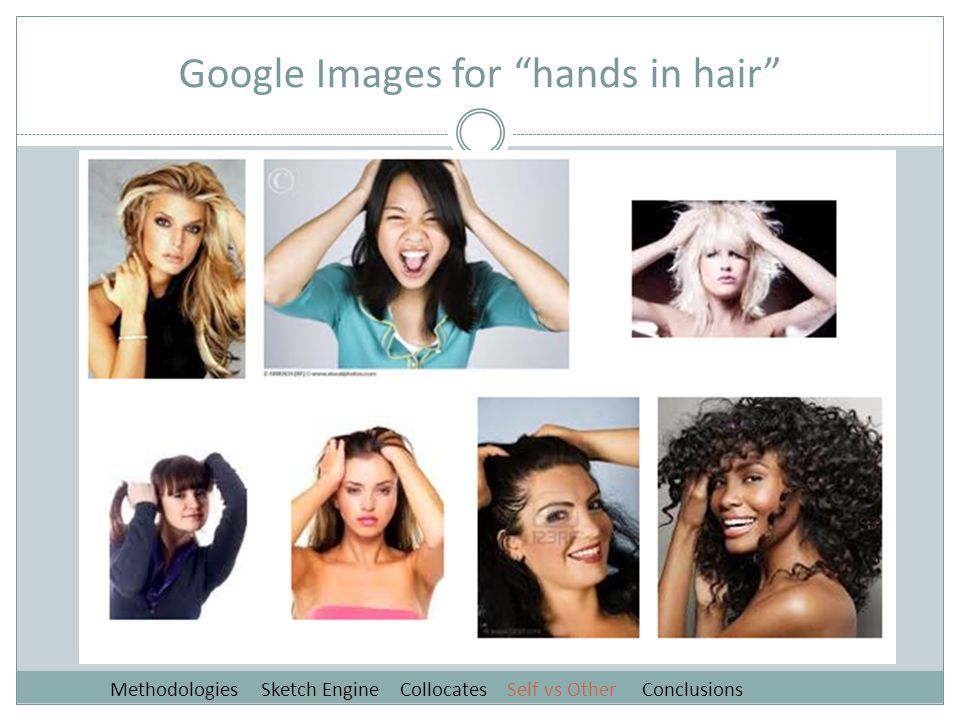 Google Images for hands in hair Methodologies Sketch Engine Collocates Self vs Other Conclusions