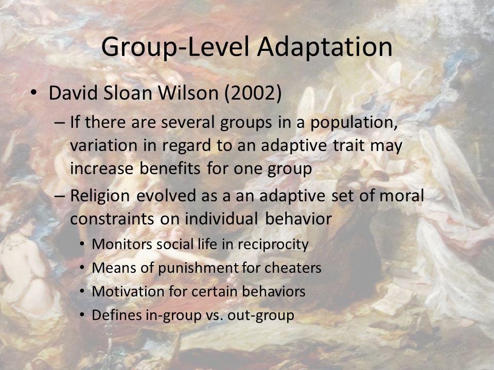 Group-Level Adaptation David Sloan Wilson (2002) – If there are several groups in a population, variation in regard to an adaptive trait may increase benefits for one group – Religion evolved as a an adaptive set of moral constraints on individual behavior Monitors social life in reciprocity Means of punishment for cheaters Motivation for certain behaviors Defines in-group vs.