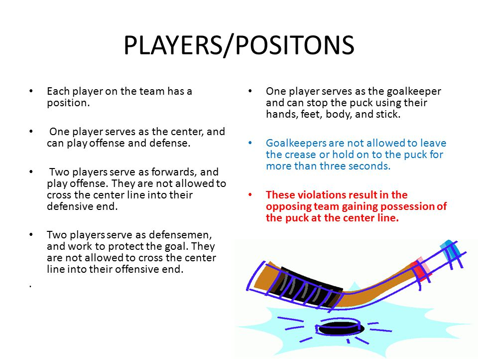 PLAYERS/POSITONS Each player on the team has a position. One player serves as the center, and can play offense and defense. Two players serve as forwa