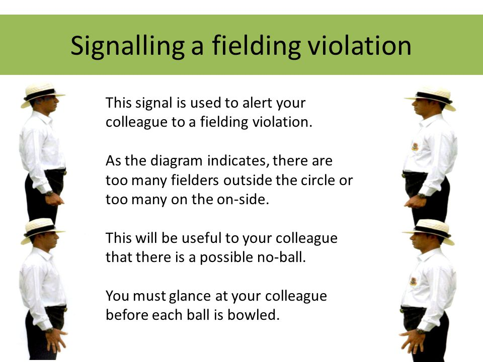 Signalling a fielding violation This signal is used to alert your colleague to a fielding violation.