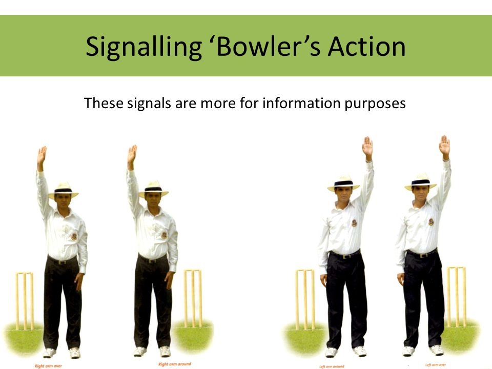 Signalling 'Bowler's Action These signals are more for information purposes