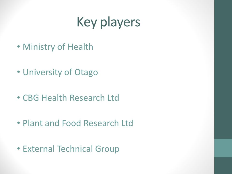 Key players Ministry of Health University of Otago CBG Health Research Ltd Plant and Food Research Ltd External Technical Group