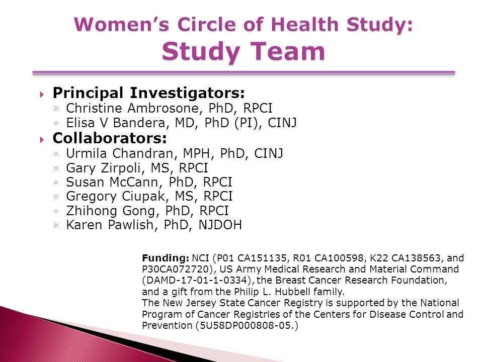  Principal Investigators: ◦Christine Ambrosone, PhD, RPCI ◦Elisa V Bandera, MD, PhD (PI), CINJ  Collaborators: ◦Urmila Chandran, MPH, PhD, CINJ ◦Gary Zirpoli, MS, RPCI ◦Susan McCann, PhD, RPCI ◦Gregory Ciupak, MS, RPCI ◦Zhihong Gong, PhD, RPCI ◦Karen Pawlish, PhD, NJDOH Funding: NCI (P01 CA151135, R01 CA100598, K22 CA138563, and P30CA072720), US Army Medical Research and Material Command (DAMD-17-01-1-0334), the Breast Cancer Research Foundation, and a gift from the Philip L.