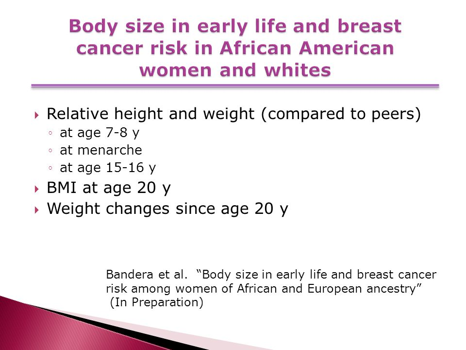  Relative height and weight (compared to peers) ◦at age 7-8 y ◦at menarche ◦at age 15-16 y  BMI at age 20 y  Weight changes since age 20 y Bandera et al.