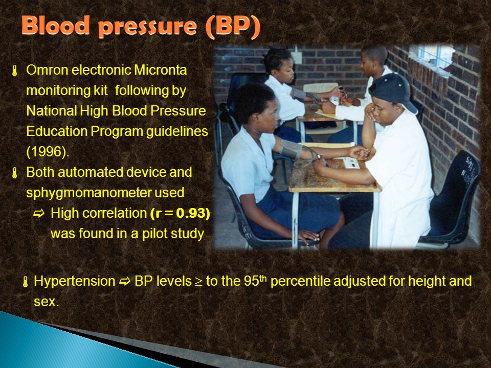  Omron electronic Micronta monitoring kit following by National High Blood Pressure Education Program guidelines (1996).