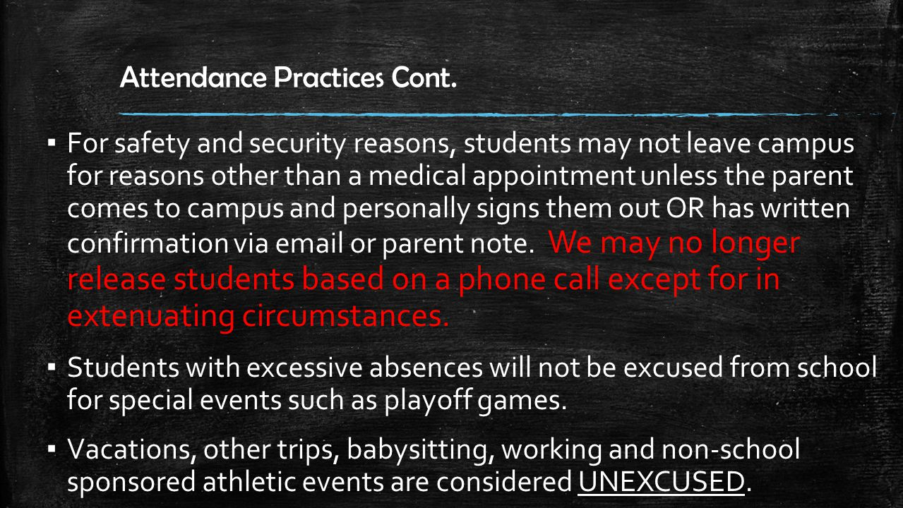 Tardy Policy – Consequences for a 6 weeks 1 st – 3 rd Tardy Warning 4 th & 5 th Tardy Lunch Detention 6 th & 7 th Tardy ECO – after school detention 8 th & 9 th Tardy ▪ When TARDY, you will report to the closest tardy station – Front Office – AP Office on each floor ▪ Teacher will mark you TARDY in eSchool so parents can see from home Saturday School 10 th TARDY is a Referral
