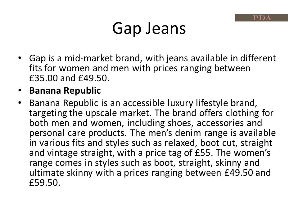 Gaps Advertising and Marketing In April 2010, Gap promoted the brand's 1969 Premium Jeans range by launching an iPad shopping application called 'The 1969 Stream' in the US.