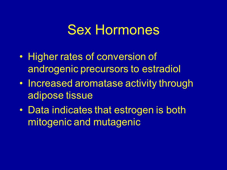 Sex Hormones Higher rates of conversion of androgenic precursors to estradiol Increased aromatase activity through adipose tissue Data indicates that estrogen is both mitogenic and mutagenic
