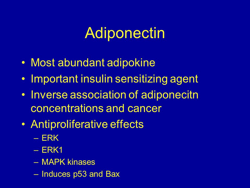Adiponectin Most abundant adipokine Important insulin sensitizing agent Inverse association of adiponecitn concentrations and cancer Antiproliferative effects –ERK –ERK1 –MAPK kinases –Induces p53 and Bax