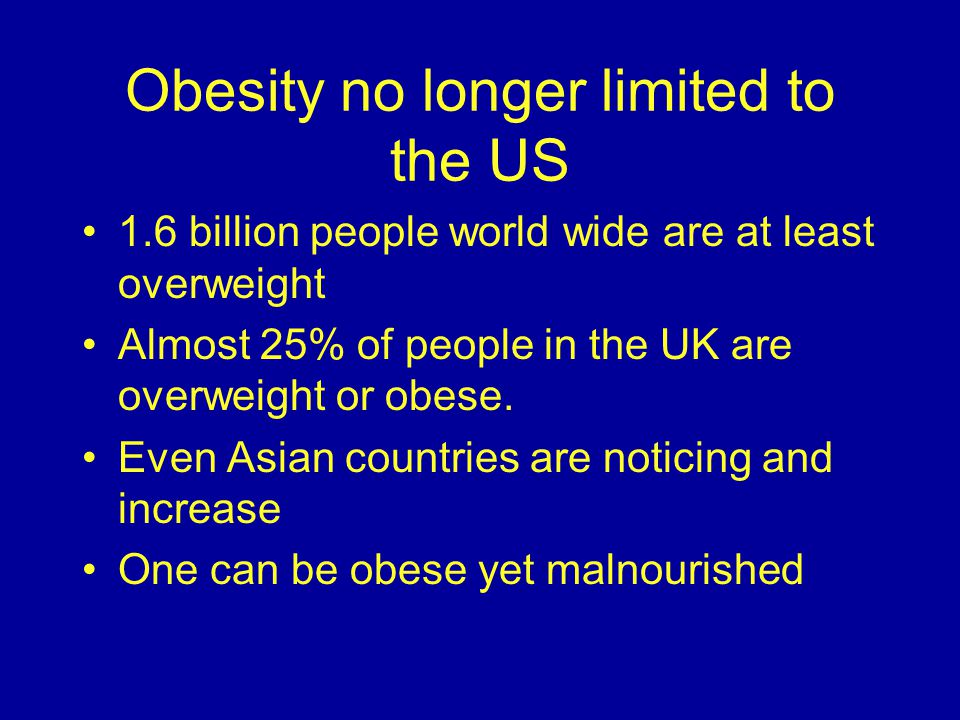 Obesity no longer limited to the US 1.6 billion people world wide are at least overweight Almost 25% of people in the UK are overweight or obese.