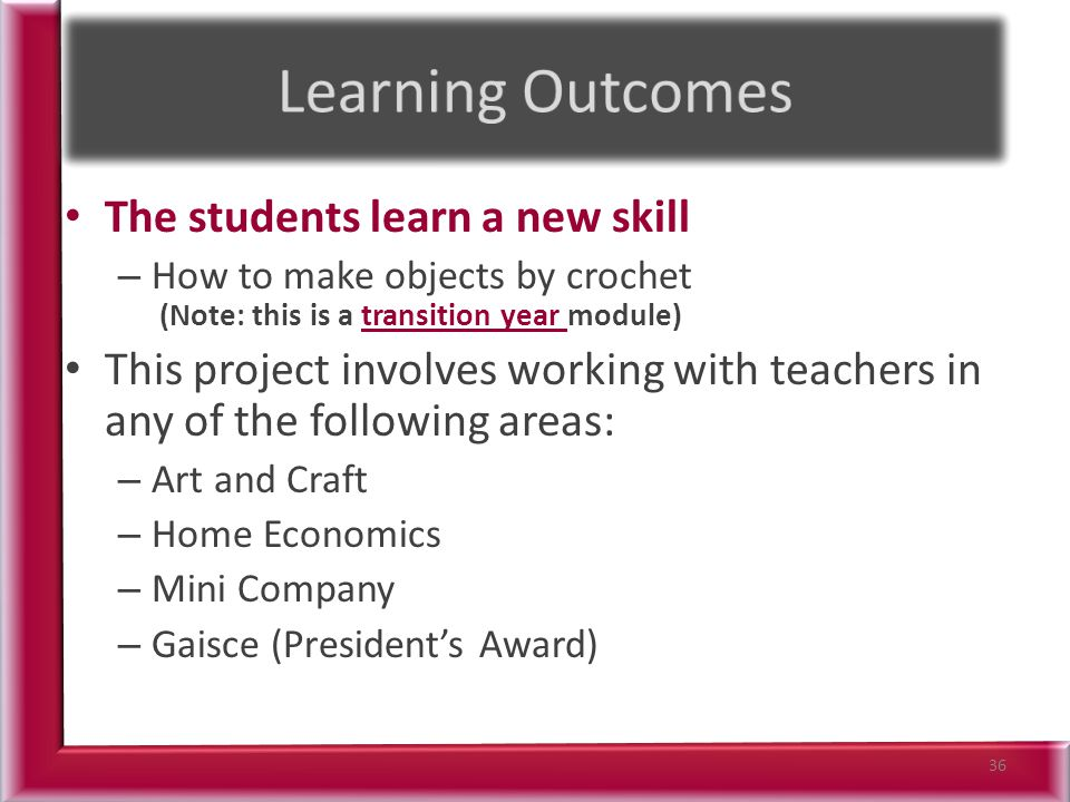 The students learn a new skill – How to make objects by crochet (Note: this is a transition year module) This project involves working with teachers in any of the following areas: – Art and Craft – Home Economics – Mini Company – Gaisce (President's Award) 36