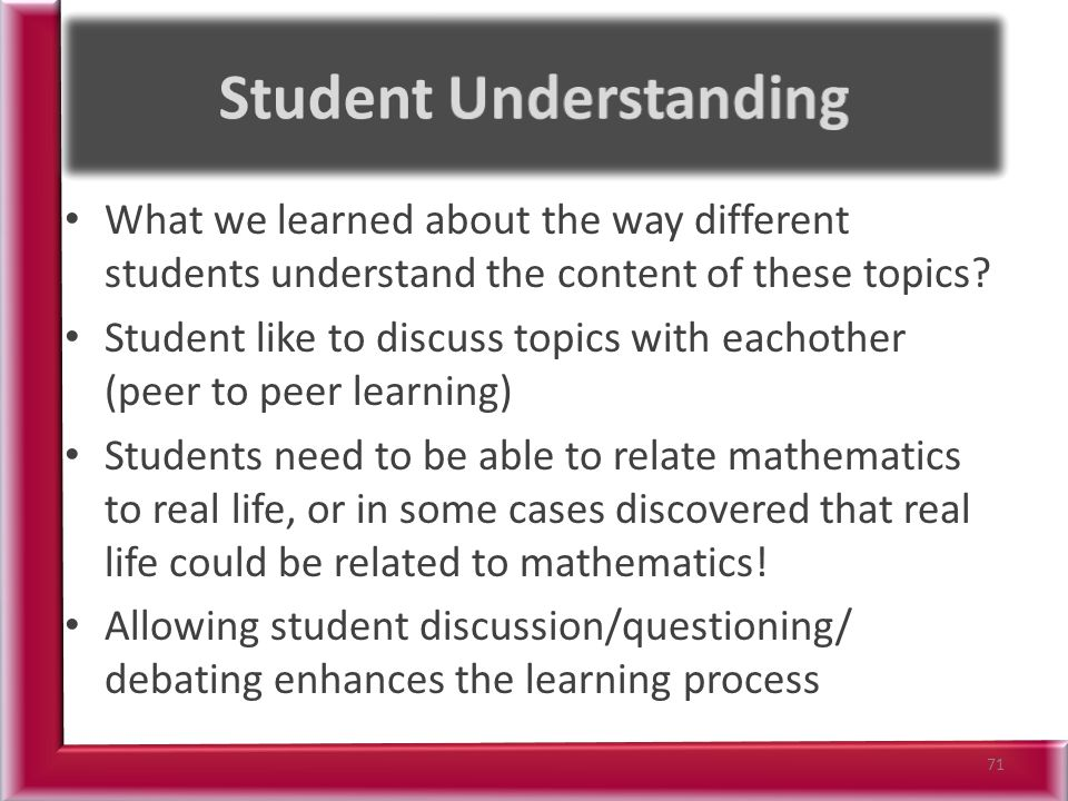 What we learned about the way different students understand the content of these topics.