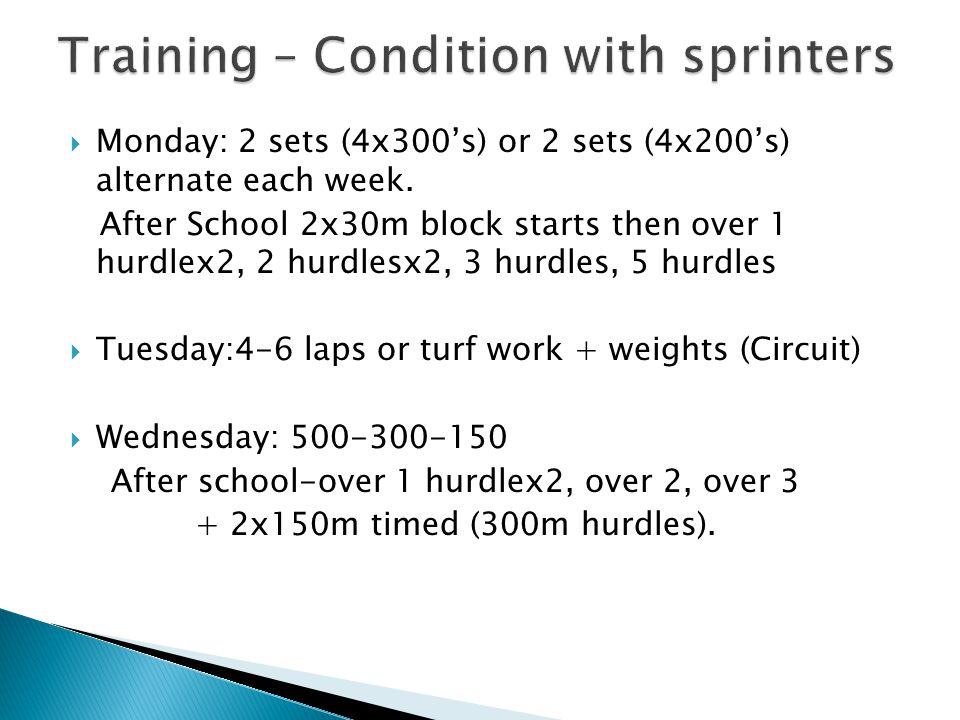  Monday: 2 sets (4x300's) or 2 sets (4x200's) alternate each week. After School 2x30m block starts then over 1 hurdlex2, 2 hurdlesx2, 3 hurdles, 5 hu