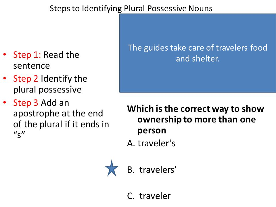 Steps to Identifying Plural Possessive Nouns Step 1: Read the sentence Step 2 Identify the plural possessive Step 3 Add an apostrophe at the end of the plural if it ends in s Which is the correct way to show ownership to more than one person A.