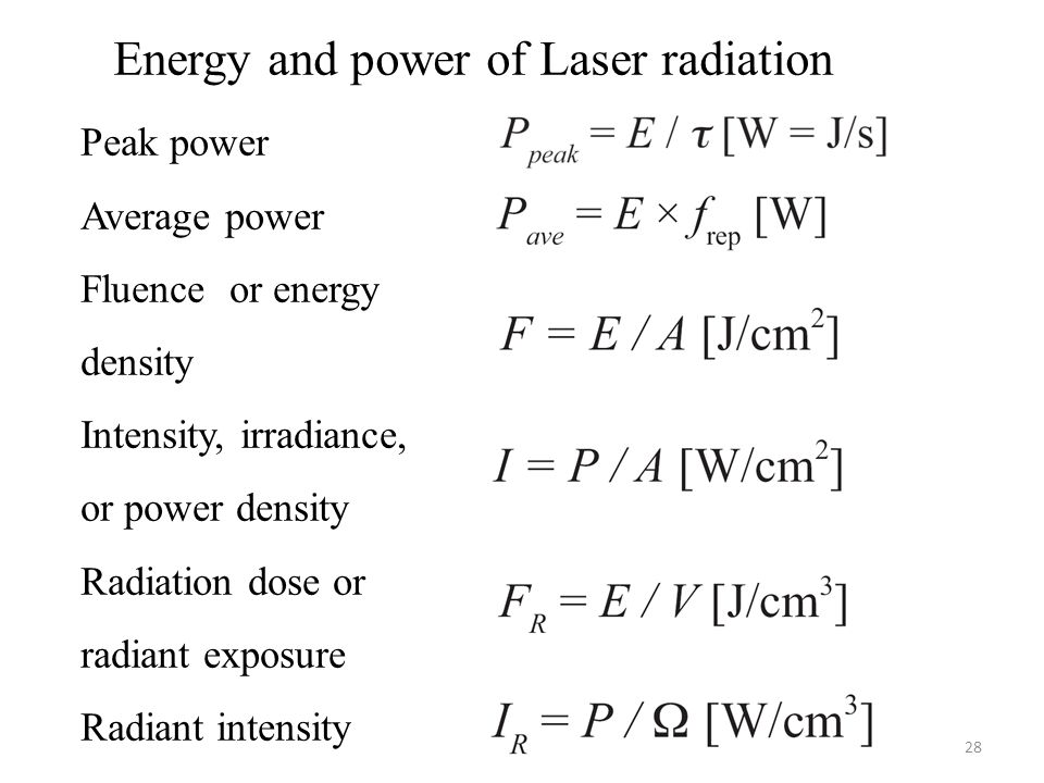 28 Energy and power of Laser radiation Peak power Average power Fluence or energy density Intensity, irradiance, or power density Radiation dose or radiant exposure Radiant intensity